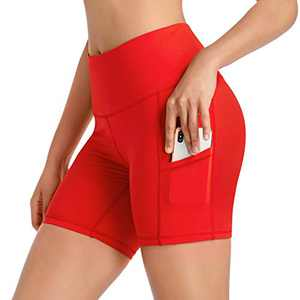 CARXIU Women's High Waist Yoga Workout Biker Running Athletic Fitness Compression Shorts Tummy Control with Side Pockets Q04-Red-L