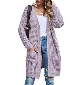 TARSE Womens Long Cardigans Waffle Oversized Open Front Knit Sweater with Pockets, Normal Sleeves, Purple, S