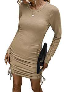 Kafiloe Women Casual Mini Sweater Dress Long Sleeve Drawstring Knitted Sheath Bodycon Ruched Club Dresses Khaki L