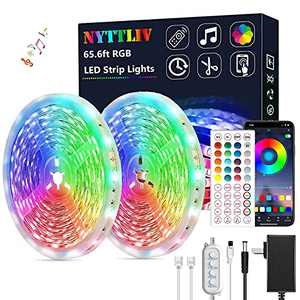 Led Lights for Bedroom, Led Strip Lights 65.6ft Led Lights Music Sync RGB Rope Lights Smart App Controlled Tape Lights and 5050 RGB Flexible Color Changing Remote Control for Bedroom Party Home Decor
