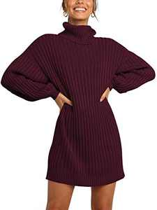 Margrine Women's Turtleneck Wool Soft Lightweight Winter Warm Knitted Loose Long Pullover Fall Sweater Dress Wine Red M2A40-jiuhong-S