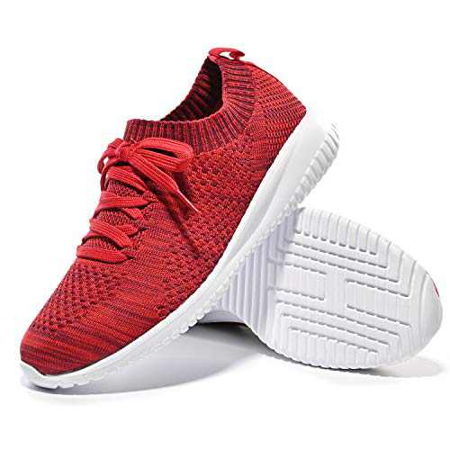 Breifola B04, Women Walking Shoes, Lightweight and Comfortable Running Shoes,Lightweight Elastic Slip-on Shoes (Crimson/White/B04-9, Numeric_9_Point_5)