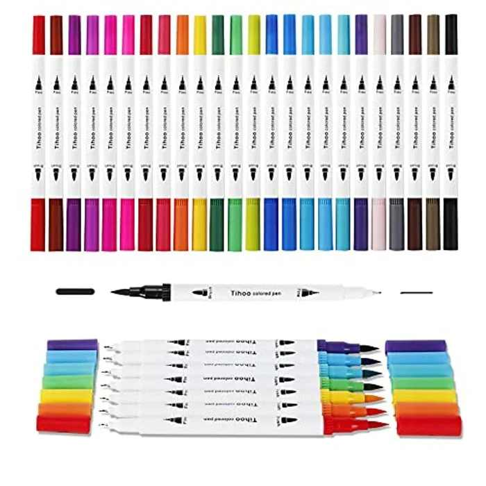 Tihoo Dual Tip Brush Pens, 24 Colors Fineliners Colouring Pens Brush Tip Art Markers for Kids and Adults Colouring, Sketching, Painting, Drawing, Calligraphy, Comic, Idea Birthday Gift
