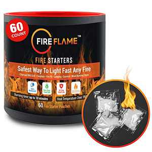 FireFlame Quick Instant Fire Starter - 100% Waterproof All-Purpose Indoor & Outdoor FireStarter, for Charcoal Starter, Campfire, Fireplace, BBQ - Odorless and Non-Toxic - 60 Pouches in Canister
