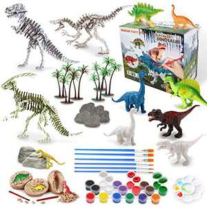 IPHUNGO Dinosaur Arts and Crafts for Kids Age 3 4 5 6 7 8 9 10 12 Dinosaur Painting Toy Set for Boys Girls with Play Mat, Paint Your Own Dino Toys