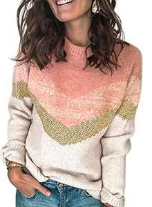 LOSRLY Womens Color Block Casual Round Neck Sweaters Striped Long Sleeve Loose Chunky Knitted Sweater Pullover Jumper Tops Pink Large