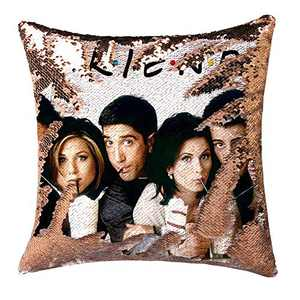 cygnus Friends TV Show Merchandise Sequin Pillow Cover Mermaid Color Change Flip Cushion Cover Funny White Elephant Gifts 16x16 inch No Filler,Champagne Gold