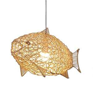 SkyTalent Fish-Shaped Lantern Pendant Lighting Rattan Light, 24inch Weaving Natural Wicker Ceiling Hanging Light Woven Chandelier with Adjustable Cord for Dining Room Living Room Restaurant