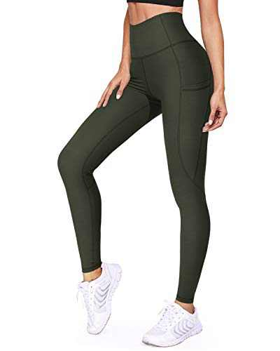 WALK FIELD Women's Yoga Pants with Pockets Sports Leggings with Pockets High Waist Tummy Control Non See-Through Workout Pants(Olive,L)