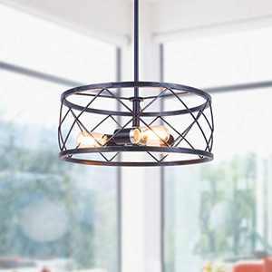 3-Light Chandelier Light Fixture, Zicbol 15.75'' Rustic Vintage Farmhouse Pendant Light, Adjustable Height Decorative Chandeliers for Entryway Kitchen Island Dining Room Living Room Bedroom, Black