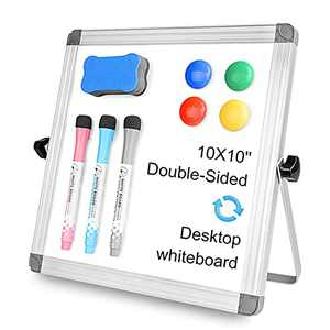 LadyRosian 10x10 Mini White Board for Kids - Dry Erase Board with Stand - Double Sided Portable Desktop Whiteboard for Classroom, Planning, Office, Kid Painting