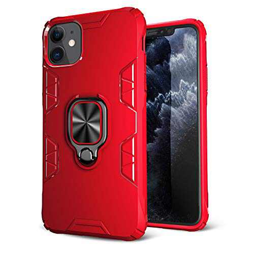 iPhone 11 Case, Maxuni iPhone 11 Protective Case with Ring Kickstand, Drop Tested Anti-Scratch Impact-Resistant Bumpers Cover with Stand Metal Plate to Magnetic Car Mount(6.1 inch)