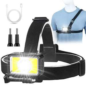 Headlamp Flashlight, 2 Way Use Rechargeable LED Headlamp Running Light, Chest Light for Camping, Hiking, Running, Jogging, Walking with Red Safety Light for Adults and Kids Outdoors(1 Pack Light)