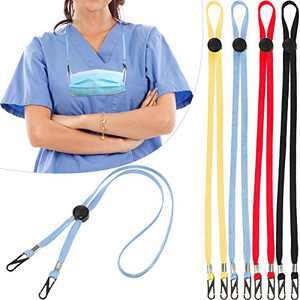 20 Pieces Adjustable Face Cover Lanyard Portable Face Covering Neck Strap Face Cover Buckles Holder Ear Relief Flexible Bib Holder Clips Fisherman Hat Lanyard (Red, Yellow, Dark Blue, Black)
