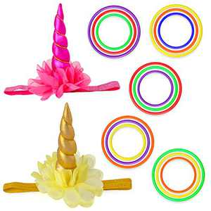 Beelittle Unicorn& Reindeer Antler Ring Toss Game Unicorn Horn Headband and Toss Ring Set for Kids Family Carnival Garden Backyard Outdoor Games Birthday Party Decoration Supplies (Set A)