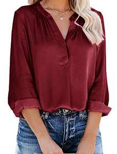 Yidarton Women's Long Sleeve V Neck Chiffon Blouses Tops Pleated Button Down Business Shirts(Wine,XL)