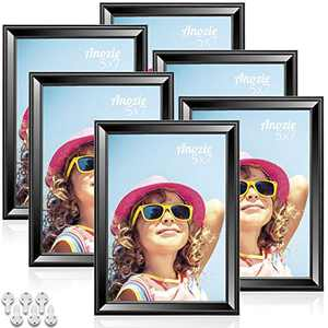 Anozie 5X7 Picture Frames(6 Pack,Black) Simple Line Moulding Photo Frame Set with HD Real Glass for Tabletop or Wall Mount Display, Minimalist Collection (Black, 5X7)