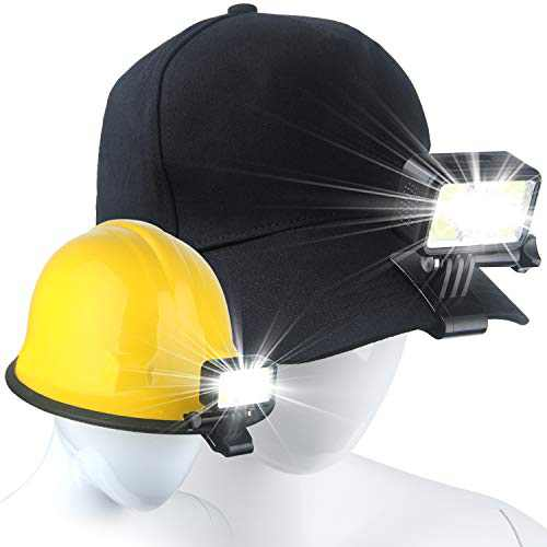 2 Pack Headlamp, Clip on Hat Light USB Rechargeable Led Hard Hat Light Hands-Free Cap Headlamp Gifts for Men for Outdoor Walking, Running, Reading, Fishing with Red Safety Light (CAP NOT INCLUDED!)