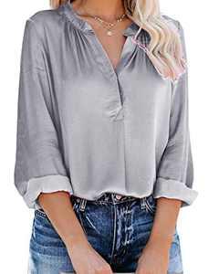 Yidarton Women's Long Sleeve V Neck Chiffon Blouses Tops Pleated Button Down Business Shirts(Gray,XXL)