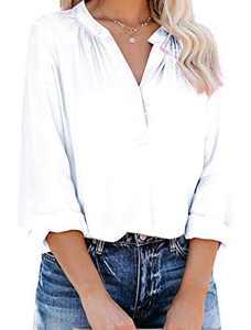 Yidarton Women's Long Sleeve V Neck Chiffon Blouses Tops Pleated Button Down Business Shirts(White,S)