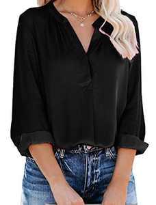 Yidarton Women's Long Sleeve V Neck Chiffon Blouses Tops Pleated Button Down Business Shirts(Black,M)