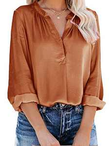 Yidarton Women's Long Sleeve V Neck Chiffon Blouses Tops Pleated Button Down Business Shirts(Brown,L)