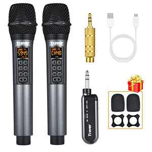 Travor UHF Dual Wireless Handheld Dynamic Microphone with Adjustable Echo, Volume, Channel, Rechargeable Receiver for Karaoke Singing, Wedding, Amplifier, Speech, Party, 164 ft