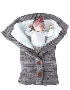 Unisex Infant Swaddle Blankets Cozy Fleece Knit Nursery Newborn Baby Girls Boys Sleeping Wraps New Grey