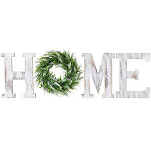 LOSOUR Home Letters with Wreath-Farmhouse Decor for The Home Clearance Wood Letters-Decorative Home Sign for Living Room Decor, Entry Way, Kitchen, etc (White)
