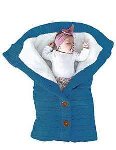 Unisex Infant Swaddle Blankets Cozy Fleece Knit Nursery Newborn Baby Girls Boys Sleeping Wraps New Dark Blue