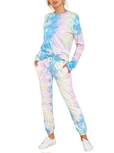 Fastkoala Women's 2 Pieces Outfits Clubwear Colorful Tie Dye Hooded Crop Top Shorts Joggers Tracksuit Sportswear Set Blue3-Tie Dye M