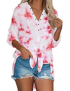 LookbookStore Women's Casual Button Down Tie Dye Shirt Long Rolled-Up Sleeve Loose Blouse Fall Lightweight Tops Hot Pink Size Small