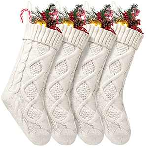 Fesciory 4 Pack Christmas Stockings 18 Inches Large Size Cable Knitted Stocking Gifts & Decorations for Family Holiday Xmas Party, Ivory White