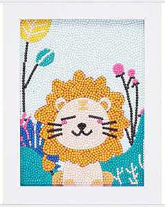 ALTRUB Funny DIY Mosaic Craft Kits - Brilliant 5d Diamond Painting Kits with Wooden Frame for Children up 6 Years Old (Little Lion, 9.1 x 7.1 inch)