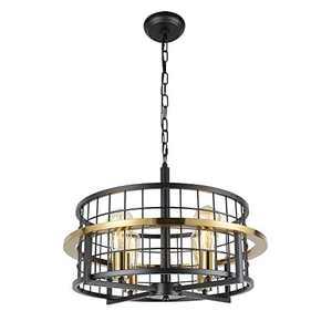Baiwaiz Premium Gold Modern Dining Room Drum Chandelier, Black Metal Wire Cage Foyer Pendant Light Fixture Luxury Round Industrial Chandelier 4 Lights Edison E26 BW17073G