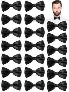 20 Pieces Men's Bowties Adjustable Pre-Tied Bow Tie Black Solid Bow Ties Neck Bow Tie Formal Bowtie for Men Tuxedo Party Wedding Supplies