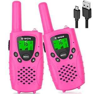 Walkie Talkie for Kids,Girls Gift,Rechargeable Kids Walkie Talkies for Girls, 4 KM 22 Channels Toys Walkie Talkies for 3-12 Year Old Kids(Pink)