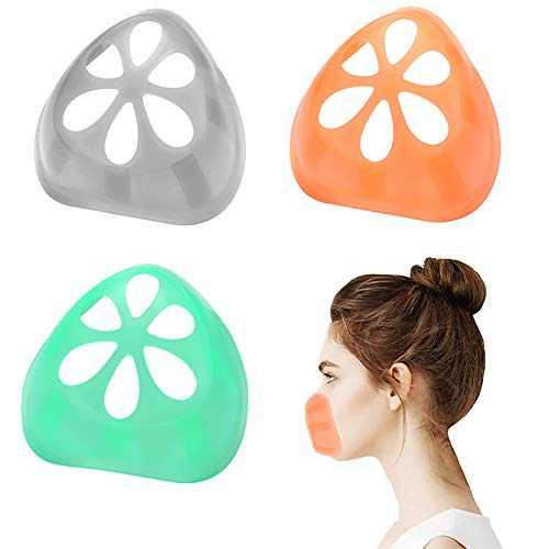 3D Silicone Mask Bracket Face Bracket For Mask Face Mask Inner Support Frame Silicone Bracket for Mask Wearing Lipstick Protection, 3 Pack (greenorangegrey)