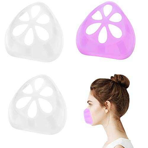 3D Silicone Mask Bracket Face Bracket For Mask Face Mask Inner Support Frame Silicone Bracket for Mask Wearing Lipstick Protection, 3 Pack
