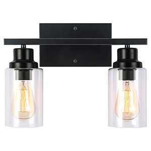 2-Lights Vanity Light Fixtures Black Wall Sconces Lighting Bathroom Lights with Clear Glass Shade for Over Mirror Kitchen Bedroom Hallway Stairs