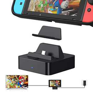 Switch TV Dock (Case Friendly), KIWIHOME Aluminum Portable Switch Charger Dock TV Docking Station Replacement for Switch Charge and Play with 4K HDMI and USB 3.0 Port