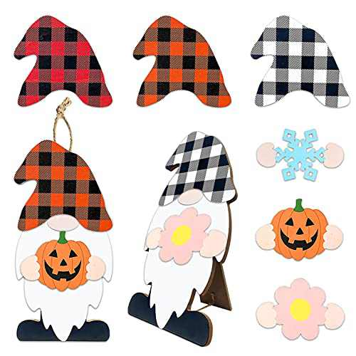 Winder Gnome Decor Home Sign Wall Hanging & Table with 8-PC Wooden Interchangeable DIY Seasonal Icons for Front Door Garden Holiday Spring Veterans Day 4th of July Halloween Christmas Decorations