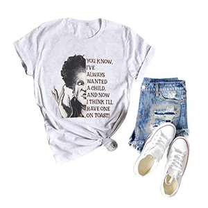 TAKEYAL Women Funny Halloween Graphic Shirts Dost Thou Comprehend Hocus Pocus Tee Casual Short Sleeve Top Blouse (S, Light Gray)