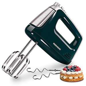 Hand Mixer Electric, REDMOND Handheld Mixer 5-Speed Compact with Turbo Function, Egg Beaters, Dough Hooks for Kitchen Whipping Mixing Baking, 250W(Green)