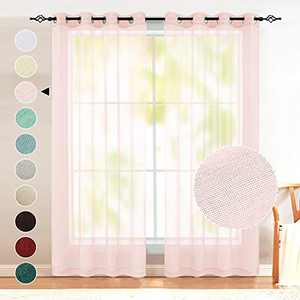 Baby Girl Pink Sheer Curtains for Girls Bedroom 2 Panels Grommet Voile Semi Sheer Curtains for Kids Room Baby Nursery Teen Toddler Teenager Littel Princess Daughter Closet Pretty Light Pink 63 Inch