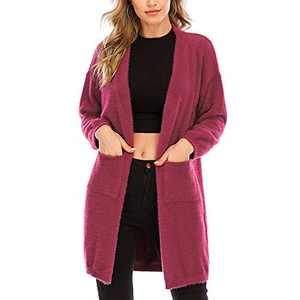 Aojo Women's Long Sleeve Open Front Cardigans Sweaters Casual Chunky Knit Plush Coat Outwear with Pockets Red