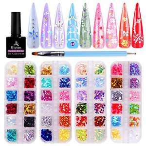 Biutee Nail Art Glitter Sequins 4 Boxes Nail glitter powder 3D Butterfly Star Heart Horse eye shape Colorful Laser Acrylic Paillettes for Nail Art DIY Eye Makeup Sequins Lip Gloss Decorations
