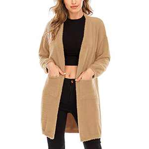 Aojo Women's Long Sleeve Open Front Cardigans Sweaters Casual Chunky Knit Plush Coat Outwear with Pockets Khaki