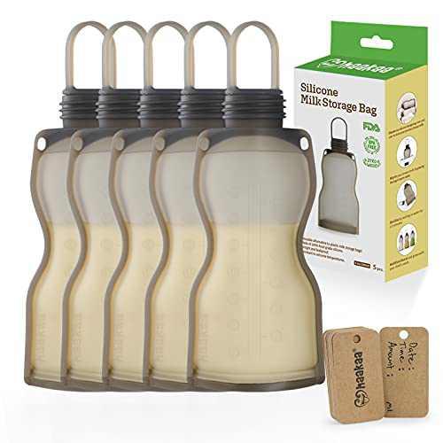 Haakaa Silicone Milk Storage Bag(9 oz,5pk) - Reusable Breastmilk Freezer Bags for Breastfeeding & Pumping,Self Standing & Leak Proof Breast Milk Saver,Storing Pouches,Breast Pump Accessories,BPA Free