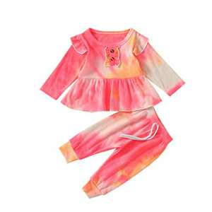 Toddler Baby Girls Tie Dye Knitted Ruffle Tunic Dress Top Leggings Pants 2PC Fall Winter Ribbed Outfit Set Clothes (A-Pink Yellow, 2-3T)